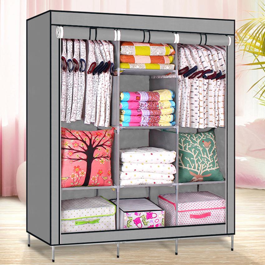 High Quality Multifunctional Wardrobe Storage Cabinet (Grey ...