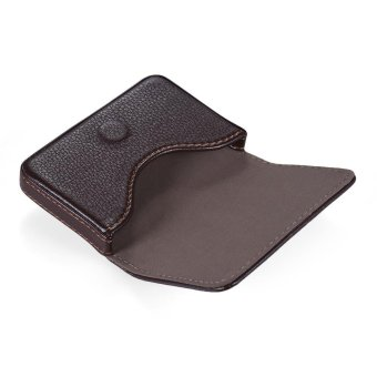High-quality Pocket Size Synthetic PU Leather Business Name CardHolder Case Box Wallet Brown - intl - 2