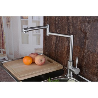 High Quality Stainless Steel Kitchen Sink Faucet Cold and Hot WaterTap Mixer(Silver) - Intl - 2