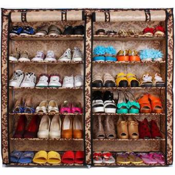 High Quality T-2712 Double Capacity 6 Layer Shoe Rack Shoe Cabinet(Leopard Graim) Price Philippines