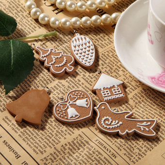 HKS 11 Pcs Animal Snowflake Biscuits CHRISTMAS Hand Made Polymer Clay (Brown) (Intl) - picture 2