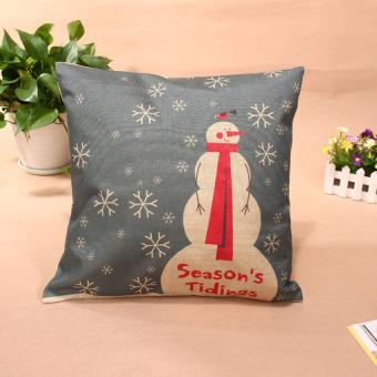 HKS Christmas Throw Home Decorative Cotton Linen Pillow 004 (Intl)