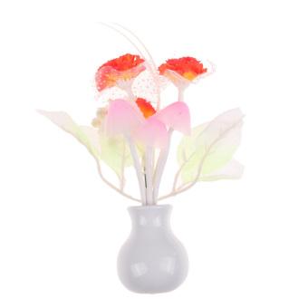 HKS Romantic Lilac Orange Sensor LED Mushroom Night Light Wall Lamp Home Decor (Intl)
