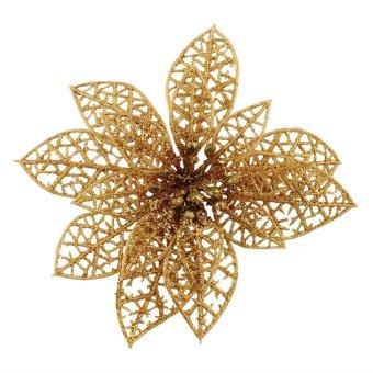 Hollow Christmas Tree Decoration Flowers Plastic Xmas Festival Party Decor Gold (Intl)