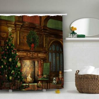 Home Decor Xmas Merry Christmas Tree and Fireplace Pattern BathroomWaterproof Bath Shower Curtain - intl