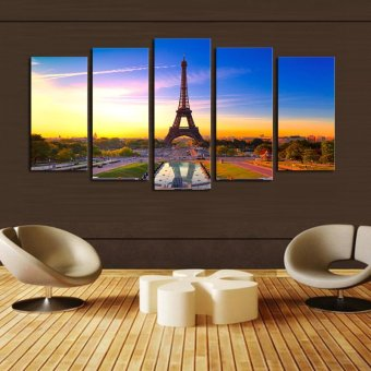 Home Decoration Wall Art 5 Panel Paris Effiel Tower Painting HighQuality Canvas Art Landscape Painting HD Pictures - Intl Price Philippines