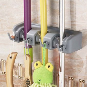Home Mop Broom Holder Rack with 3 positions and 4 Hooks (Grey)