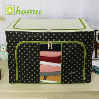 HOMU Clothes Blanket Storage Box Home Organizer 100L (Polka Black)