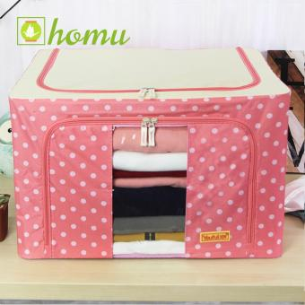 HOMU Clothes Blanket Storage Box Home Organizer 66L (Polka Pink)
