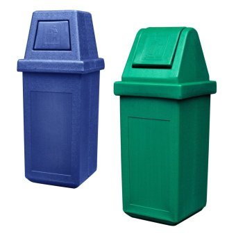 Hooded Bin Large (Blue) and Waste Master King (Green)