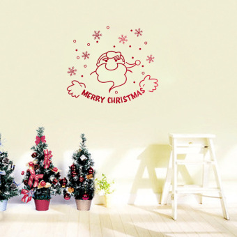 Hot Fashion Cute Santa Claus Snowflake Stick Glass Wall Stickers Christmas Party Decoration Red (Intl)