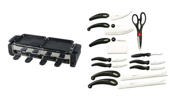 HY9099 Non-Stick Barbecue Electric Griller Bundle with MibacleBlade 13-Piece Set