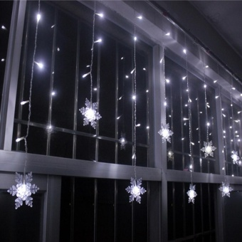 iBelieve 3.5M 96 LED Christmas Snowflake Ice Curtain String Fairy Lights Xmas Party Wedding Decor 220V - intl