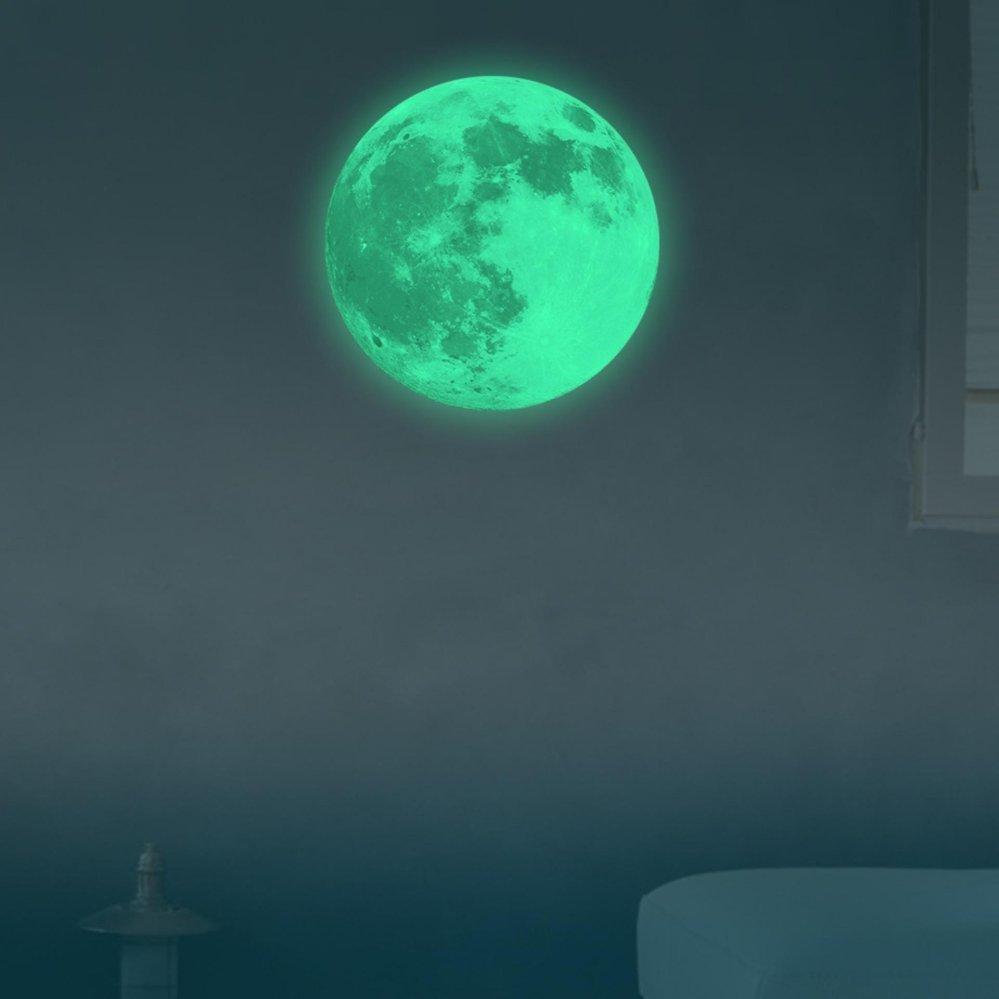 Ichic Glow In The Dark Moon Earth Wallpaper Wall Sticker Decorfor Bedroom Childrens Room