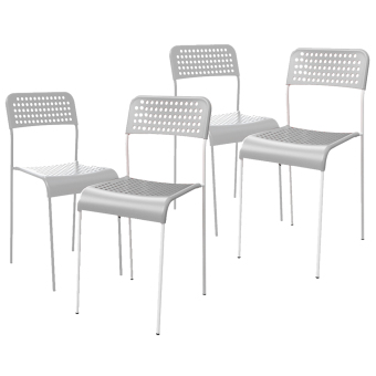 Ikea Adde Stackable Chairs- Set of 4 (White)