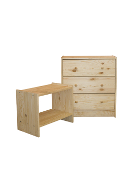 Ikea Rast Chest of 3 Drawers and Side Table (Pine)