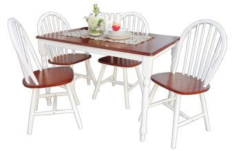 Harga Hapihomes Sunflower (4-seater) Dining Set (White/Cherry)
