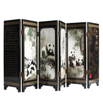 Andux Small Wooden Folding Screen Art Screen FGPF-01 (Panda) - intl Price Philippines