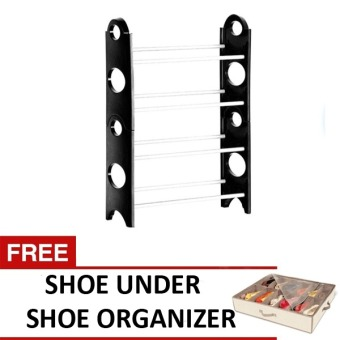 Harga Stackable Shoe Rack (Black) with FREE Shoes Under Shoe Organizer