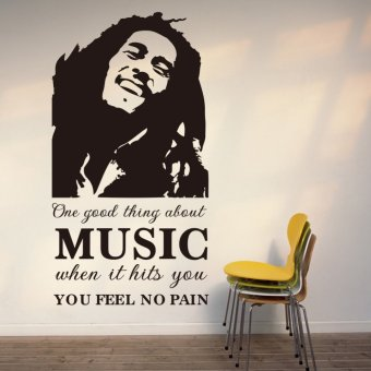 Harga One Good Thing About Music Bob Marley Words Quote Wall Decal Art 107cm*57cm