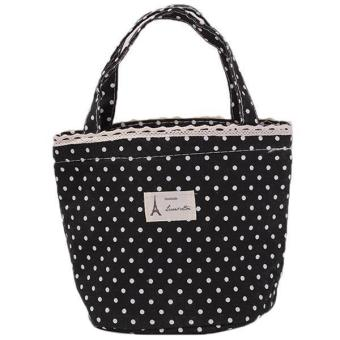 Hang-Qiao Lunch Bag Polka Dot Picnic Cooler Bag Black Price Philippines
