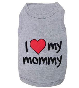 leegoal Cute I Love Mommy Printed Pet Dog Polyester T Shirt (Grey,S) - intl Price Philippines