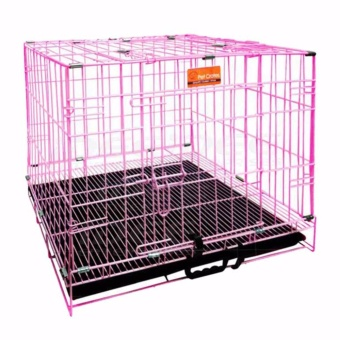 Harga Pet Crates EL-3B Foldable Dog Cage w/ Plastic tray (Pink)