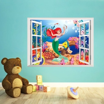 Harga The Little Mermaid Wall Stickers For Kids Rooms Home Window Decoration DIY 3D