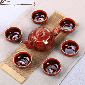 XIYOYO Chinese Glazed Ceramic Teapot Set With Glaze Changed Color (Red) - intl Price Philippines
