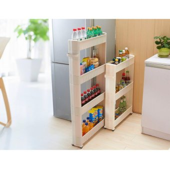 Harga 4 Layers 4 Colors White Gap Storage Shelf For Kitchen Storage Skating Movable Plastic Bathroom Shelf Save Space Rack - intl