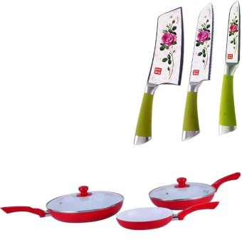 Ceramic Pan 5-piece Set (Red) With Stainless Steel Non Stick Ceramic Knife Set of 3 Price Philippines