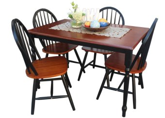 Harga Hapihomes Sunflower (4-seater) Dining Set (Black/Cherry)