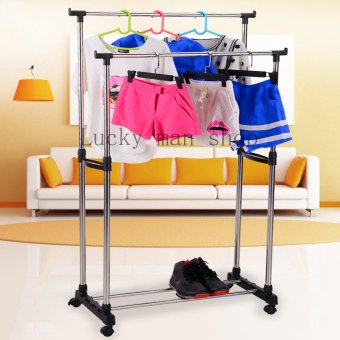 Harga Lucky man Double Pole Telescopic Clothes Rack