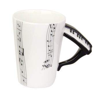 Harga Music Mug with Piano Shaped Handle Porcelain Cup Music Note