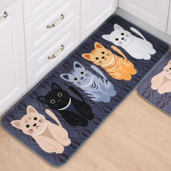 Harga Fengsheng 40x60cm Pet Cat Non-slip Mats Printed Bathroom Kitchen Rugs Doormats Cat Carpet For Living Room Non-slip Mats Suit for Kitchen(Grey) - intl