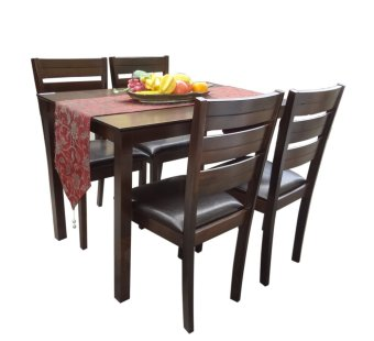 Harga Hapihomes Hanson 4-Seater All Wood Dining Set (Brown)