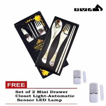 Harga Happy Time Chopstick with Spoon and Fork Sets Pure Stainless with Free Mini Drawer Closet Light-Automatic set of 2