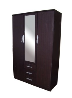 Harga Hapihomes PaTrick-45 3-door Wardrobe with Mirror (Wenge)