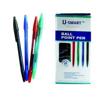 Harga U-Smart Ball Point Pen 1.0mm -06 Set of 48 (Black,Blue,Green & Red)