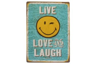 Harga Metal Tin Decor Live Laugh and Love Smiley Design