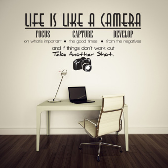 Harga Life Is Like A Camera Quote Wall Stickers Home Decals Home Study Decoration DIY