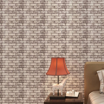 Harga Rustic Brick Effect Rock Stone Textured Wall Sticker Paper Gray