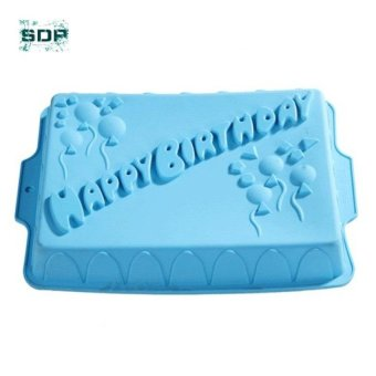 SDP Big rectangle happy birthday silicone cake mold bakeware form for cake bakery kitchen accessories bake Tools - intl Price Philippines