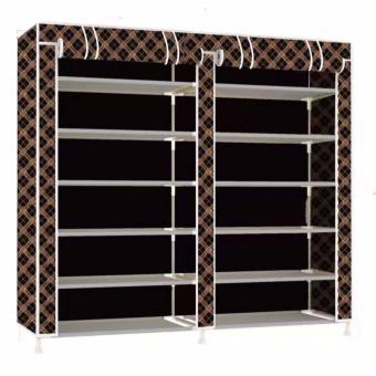 Harga KS-K66 Fashion Storage Shoe Rack (Coffee/Black)