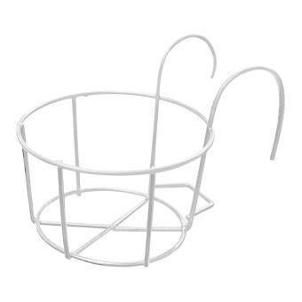 Metal Round Plants Flower Pot Holder with Hooks for Garden Balcony Railings White - intl Price Philippines