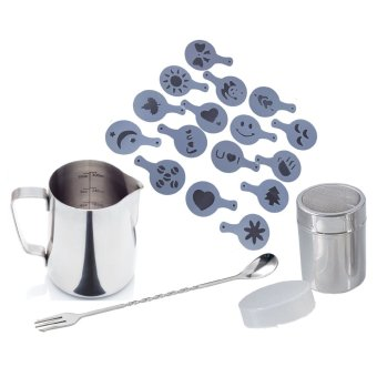 Harga Stainless Steel Frothing Pitcher, S/S Cocoa Shaker, S/S 10inch Stirrer, and 16pc Stencil Set for Cappucino/Latte Coffee
