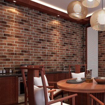 Harga 10Pcs Rustic Brick Effect Rock Stone Textured Wall Sticker Paper Coffee