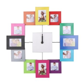 Harga Modern Metal Family Photo Frame Clock Wall Clock ation Colorful