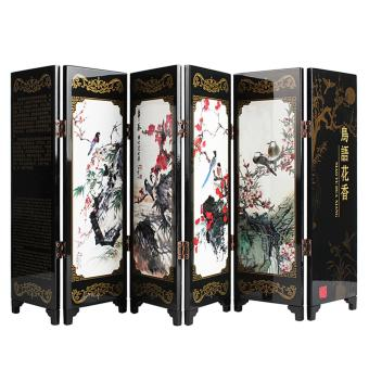 Andux Small Wooden Folding Screen Art Screen FGPF-01 (Bird) - intl Price Philippines