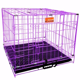 Harga Pet Crates EL-3B Foldable Dog Cage w/ Plastic tray (Purple)
